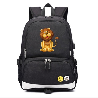 Children's The Lion King Simba usb charging canvas Laptop Backpack