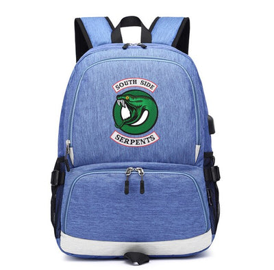 Teenagers Riverdale South Side Serpents usb charging canvas Backpack