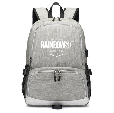Rainbow Six Siege usb charging canvas Laptop Backpack