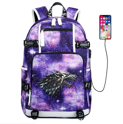 Game of thrones House stark usb charging travel Laptop Backpack