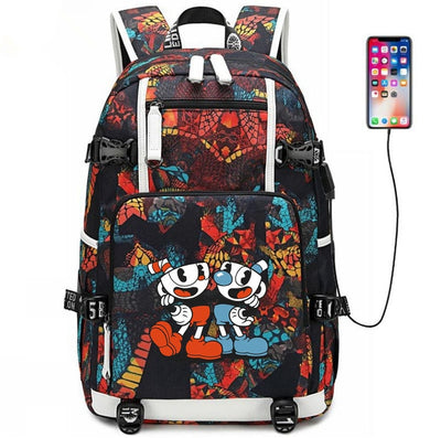 Game Cuphead Mugman usb charging canvas Laptop Backpack