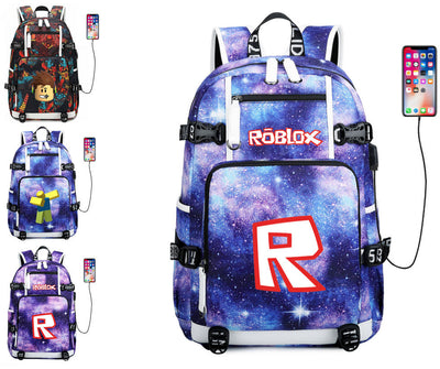 Roblox usb charging canvas Laptop travel Backpack