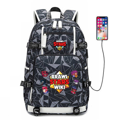 Unisex Student's Brawl Stars usb charging canvas Backpack