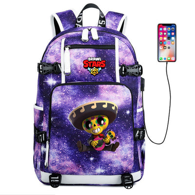 Children's Brawl Stars usb charging canvas Laptop Backpack