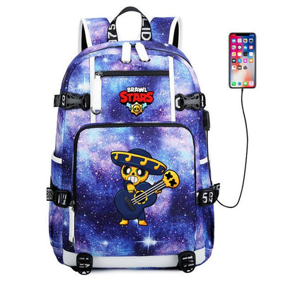 Fashion Brawl Stars usb charging canvas Laptop Backpack