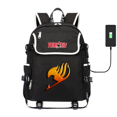 FAIRY TAIL Natsu Dragion usb charging canvas Laptop Backpack