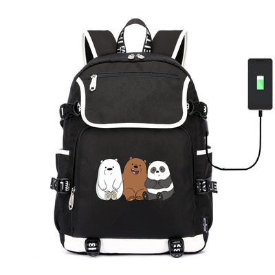 Cute we bare bears Grizzly Panda ice bear usb charging canvas Laptop Backpack
