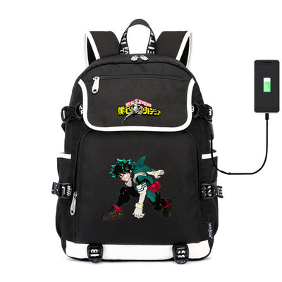 My Hero Academia Boku no Hiro usb charging canvas Laptop Backpack