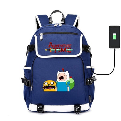 Adventure Time Lumpy Space Princess Laptop usb charging canvas Backpack