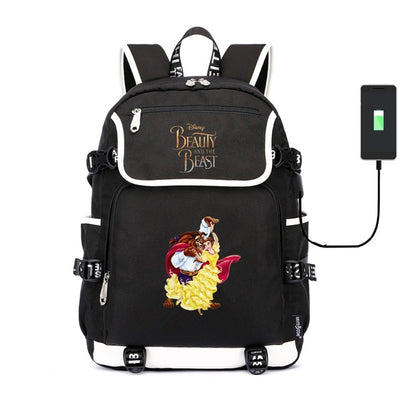 Movie Beauty and the Beast Belle usb charging canvas Laptop Backpack