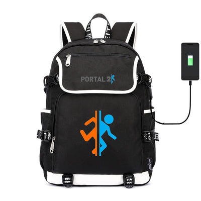 Portal Companion Cube usb charging canvas Laptop Backpack
