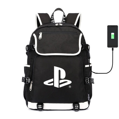 Playstation canvas usb charging School Backpack