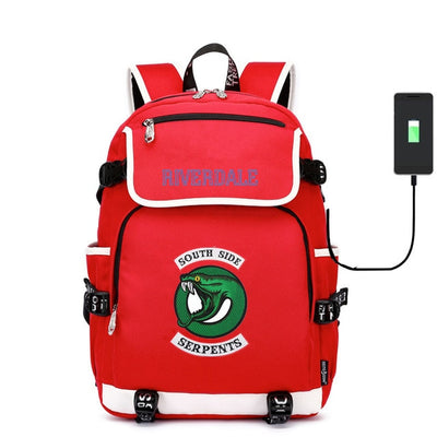 Riverdale South Side Serpents canvas usb charging School Backpack