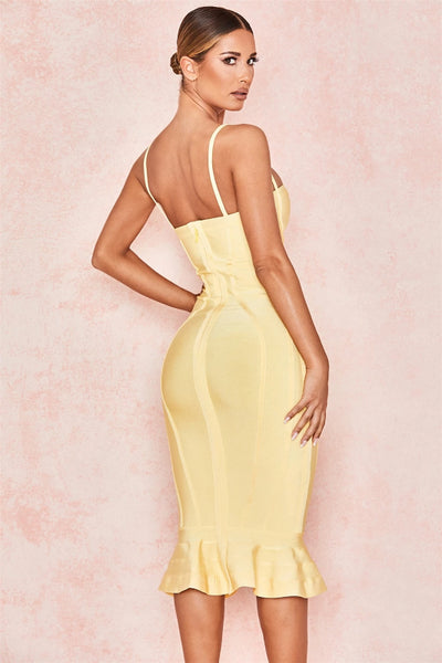 Celebrity Bodycon Sexy Club Evening Party Sexy Strap Women Mermaid Bandage Dress