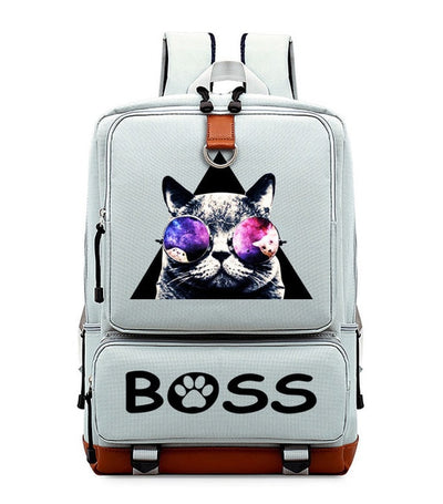 Fashion glasses cool cat cute Women Men Leisure backpack