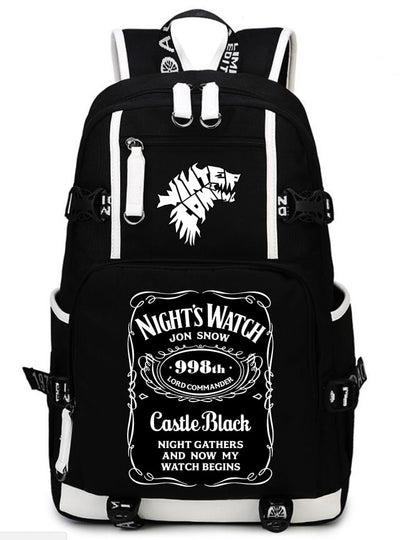Fashion winter is coming Nights Watch Jon Snow Women Men Leisure backpack