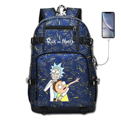 Rick and Morty Anime Fashion Laptop Backpack with USB port