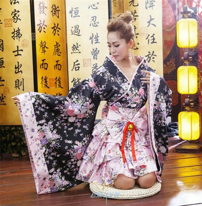 Japanese Kimono Vintage Original Tradition Silk Yukata Dress with Obi Sexy costumes