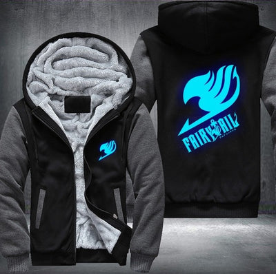 Luminous Blue Fairy Tail Printing Pattern Thicken Fleece Zipper Hoodies