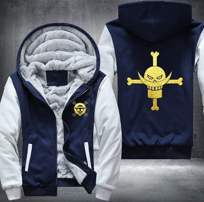 One Piece Edward Newgate golden Luminous Printing Pattern Thicken Fleece Zipper Jacket