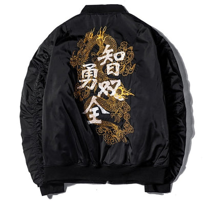Bomber Jacket Men Chinese Dragon Embroidery Baseball Uniform Streetwear Thickening Mens Jackets and Coats Pleated Sleeve Clothes
