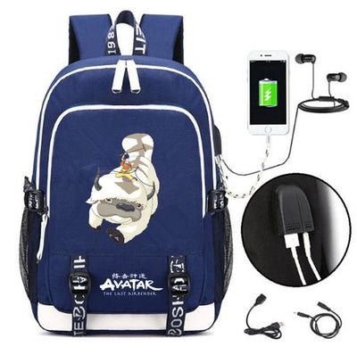 Avatar The Last Airbender canvas USB Charging laptop Backpack