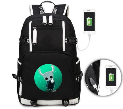 Hollow Knight canvas USB Charge Mochila the pale king backpack