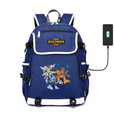 Digimon Adventure canvas Digital Monster USB charging Laptop Backpack
