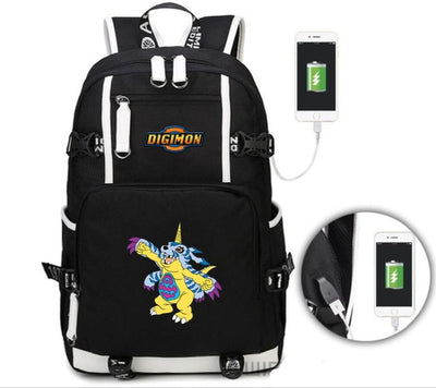 Digital Monste canvas students USB Charge backpack