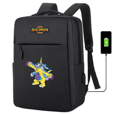 Digimon Adventure usb charging canvas Backpack