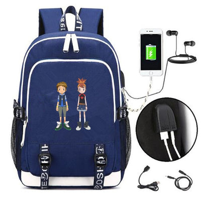 Digimon Adventure canvas USB Charging school Backpack
