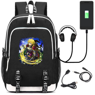 Anime The Seven Deadly Sins  USB Charging Headphone Backpack