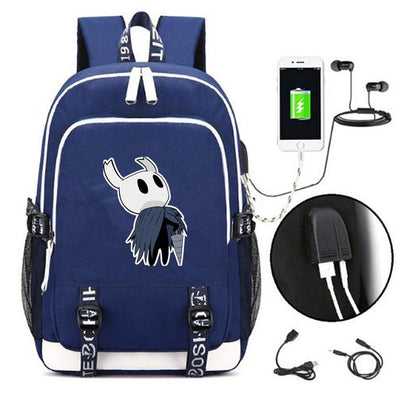 Hot game hollow knight External USB Charge Laptop Backpack