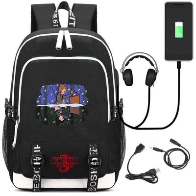 Stranger Things External USB Charge Laptop Backpack