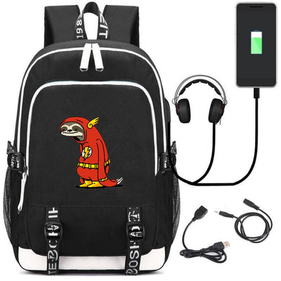 The Flash cartoon image Teenagers USB charging laptop large Backpack
