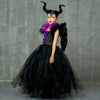 Kids Maleficent Evil Queen Girls Halloween Fancy Tutu Dress Costume