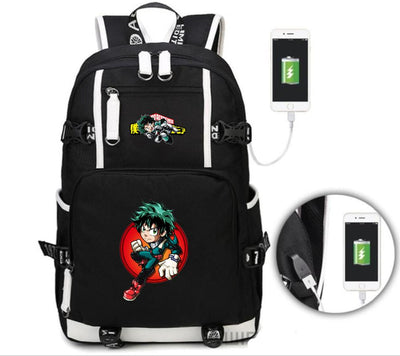 Anime My Hero Academia USB Charge Mochila backpack