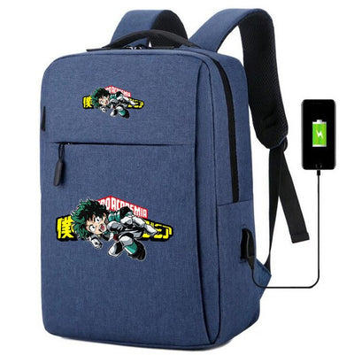 My Hero Academia usb charging canvas Laptop Backpack