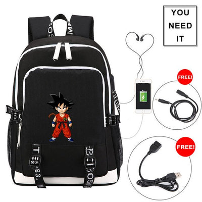 Anime Dragon Ball Laptop Backpack External USB Charge