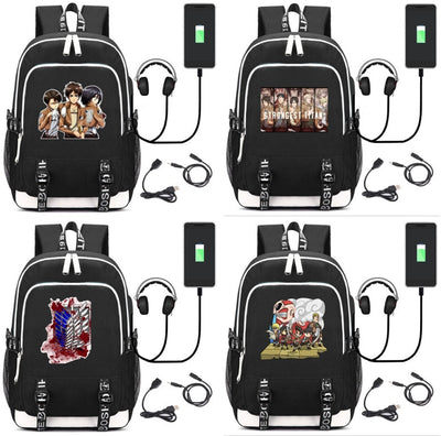 Attack on Titan Laptop Backpack External USB Charge