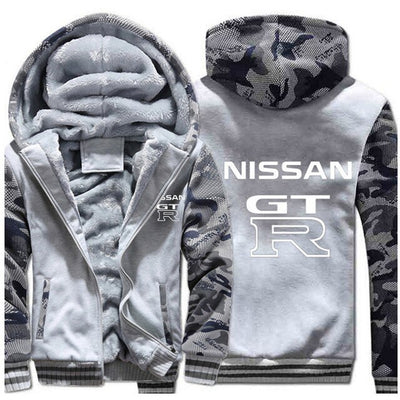 Winter Men's Warm Zipper Nissan Car Brand GTR Logo Designer Fashion White Print Sweatshirt