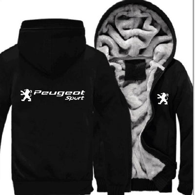 Car Brand Peugeot Logo White Print Zipper Hoodies Jackets