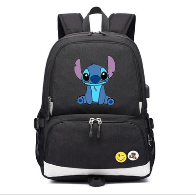 Lilo And Stitch usb charging Laptop travel Backpack