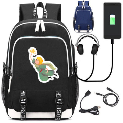 The little Prince USB charging mochila students Backpack