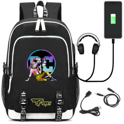 Suicide Squad Harley Quinn Birds of prey USB Charge Backpack
