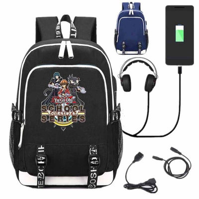 Cartoon Yu-Gi-Oh! GX School USB Charge Interface Backpack