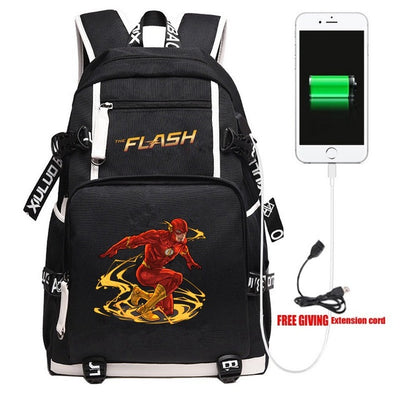 Superhero The Flash School Kids Teens Laptop Shoulder Travel Backpack