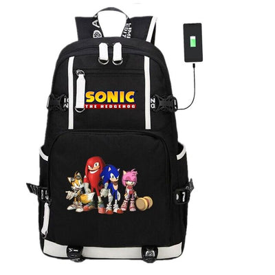 Anime Game Sonic The Hedgehog USB Black Unisex Teens Laptop Backpack