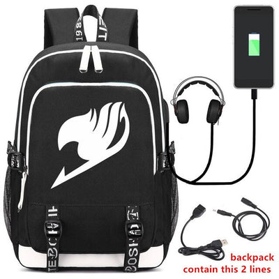 Anime Fairy Tail Usb Fashion Port / Lock / Headphone Interface Backpack