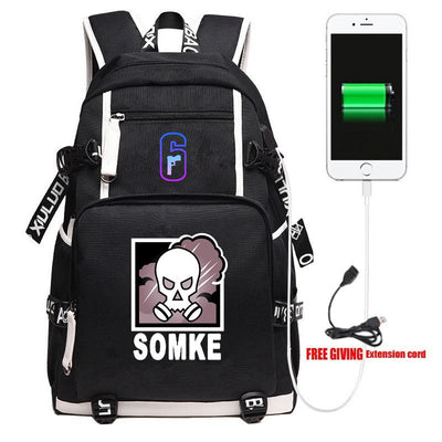 Game Rainbow Six Men Travel Shoulder Laptop Backpack